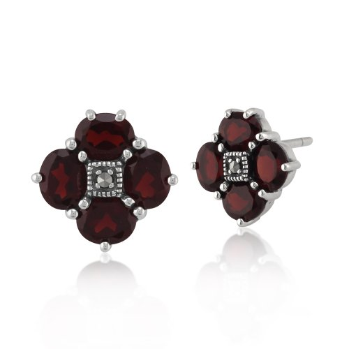 Sterling Silver 3ct Thai Garnet & Marcasite Stud Cluster Earrings