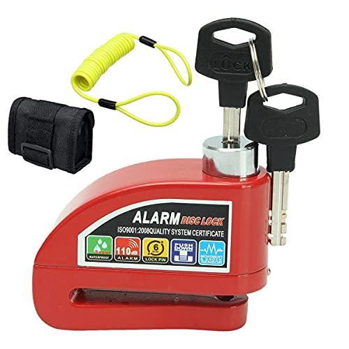HYJ-BASUO, 1 UNID Metal MOTICO Scooter SECURIDAD DE Seguridad DE Rueda DE Rueda DE Rueda DE Freno Kit DE Alarma DE Alarma + Cable de recordatorio y Bloqueo de Alarma (Color : Rojo)