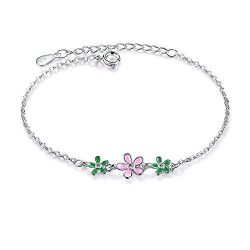 Neue Mode 925 Sterling Silber Tropfen Glasur Blätter Blume Gänseblümchen Armbänder Für Frauen Pulseira Silber 925 Schmuck 16cm