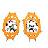 LXQ Rugged Eight-Toothed Crampons, Outdoor Gear, Eight-Toothed Crampons, Snow, Non-Slip Shoe Covers, Mountain Skid, Urban Crampons, Orange, 36 to 44 Yards