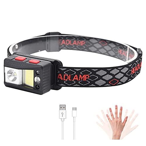 WBLTYKD Torcia Testa a LED, Focale a 8 modalità con Luce Rossa Bianca, Faro Ricaricabile USB Staccabile. Sensore Regolabile, Impermeabile, Movimento - per Correre, Campeggio Black