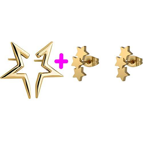 PPX 2 Pares Pendientes de Plata de con 3 Estrellas Trepadores y media estrella pendientes para Mujer, Oro