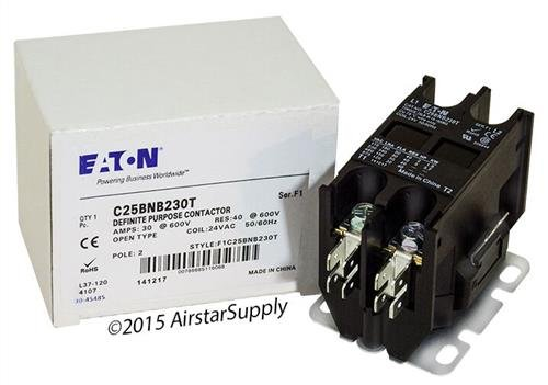 Allen Bradley 400-DP30NJ2 - Replaced by Eaton/Cutler Hammer C25BNB230T Contactor, 2-Pole, 30 Amp, 24 VAC Coil Voltage