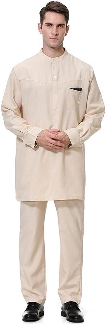 XINDSJDS 2 Pcs Muslim Abaya Suit for Men Jubba Thobe Middle East Long Robes Kaftan Arab Dubai