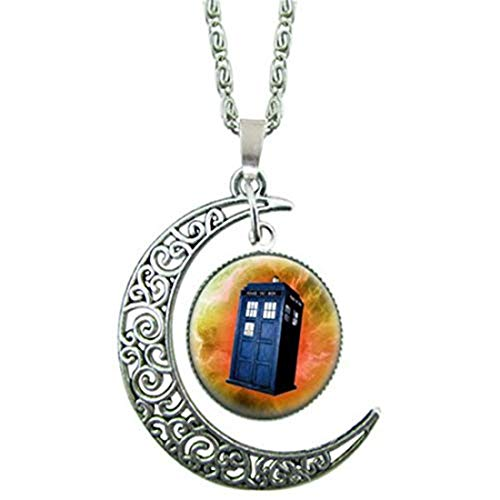 yichahu Doctor Who Telephone Booth Pendant Glass Cabochon Necklace Choker Necklace Woodland Jewelry Christmas (4)
