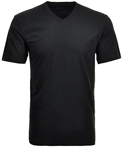 Ragman Herren Doppelpack - 2 T-Shirts mit V-Ausschnitt, Schwarz, 4XL