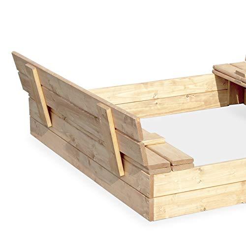 Sandkasten Sandbox Sandkiste mit Klappdeckel Sitzbänken 120x120x20 Kiefernholz mit Anti-Unkraut Bodenplane Deckel und Bank Buddelkasten Quadratisch Gartenspiel Natur Nicht lackiert - 7