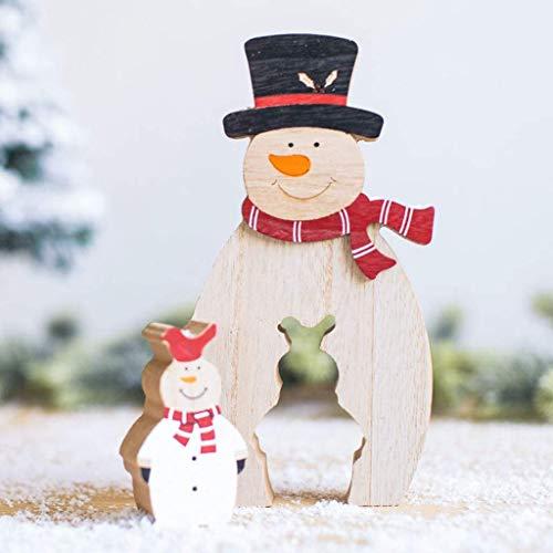 Party Weihnachten Dekor Ornamente, kreative Holz Hohl Schneemann Weihnachtsmann Rentier Desktop Ornamente für Weihnachten Parteibevorzugung Home Office Cafe Restaurant Dekorationen (B)