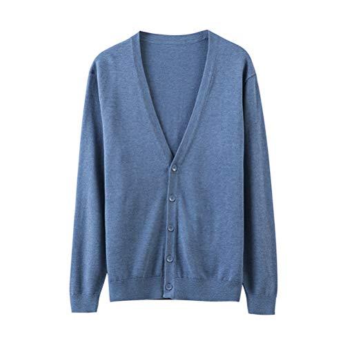 Froyland カーディガン メンズ ニット 春夏 ニットカーディガン セーター ニットジャケット Vネック 冷房対策 無地 長袖 ビジネス カジュアル ブルー XL