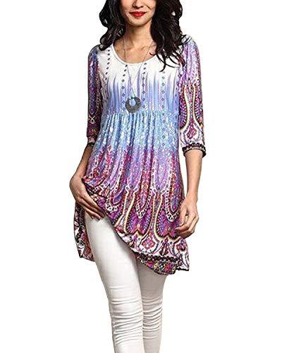 HHLJ Women's Sexy Geometric Digital Print Tunic 3/4 Sleeve Blouse T Shirt Tops