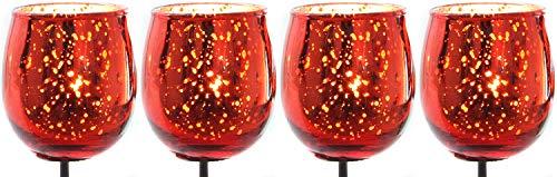 Novaliv 4X Teelichthalter zum Stecken rot Teelichtgläser Kerzenhalter Kerzenpicks für Adventskranz Glas Weihnachten 6cm