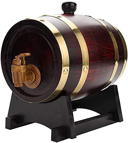 HMYLI Vino Whisky Barrel Dispenser in Legno Oak Invecchiamento Vino Barile Decanter per Il Tavolo da Portata Casa Accento Display Accentimento Deposito di liquori, liquori, retrò,1.5L