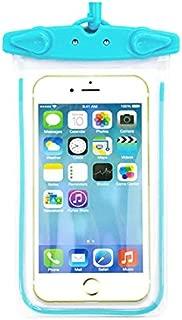 TOPマーケット 防水ケース iphone ・ Android スマホ用防水ポーチ 〈 水色 〉 高耐久 防水 IPX8認定商品 夜間発光 6インチ以下のスマホ全機種対応 お風呂 海水浴 プール ネックストラップ/アームバンド付