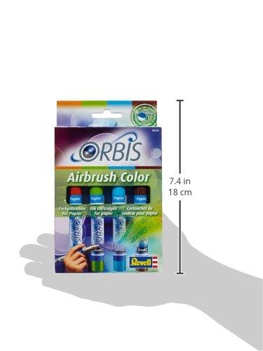 Orbis Airbrush, Orbis-Farbpatronen, Papierfarbenset mit 4 Farben, für Papier, Pappe, unbehandeltes Holz, Leinwand etc., einfacher Wechsel der Airbrushfarben - orange, hellgrün, hellblau, braun 30101