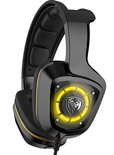 Casque de Jeu Casque d'écoute virtuel 7.1 canaux avec Casque Vibrant Casque Filaire Effets Lumineux LED-Black