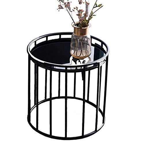 Mesa auxiliar de hierro negro pequeña mesa redonda sala de estar esquina Snack Mesa Balcón Jardín Casual Mesa de café, 50 x 50 cm