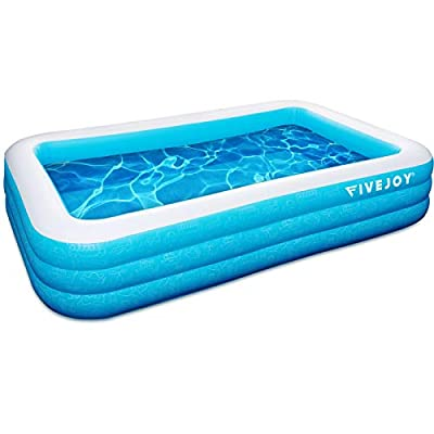 """FiveJoy Family Inflatable Swimming Pool, Rectangular Kiddie Pool for Kids, Adults, Babies, Toddlers, Outdoor, Garden, Backyard, Ages 3+, 120"""" X 72"""" X 22"""""""