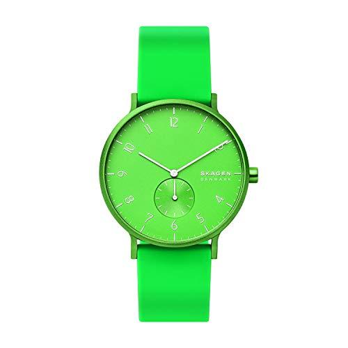 Skagen Unisex Erwachsene Analog Quarz Uhr mit Silikon Armband SKW6556