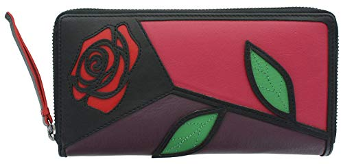 Visconti Petals Collection Gallica Zip Around Leather Purse RFID Blocking PTL32 Fuchsia