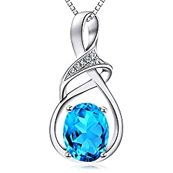 Gift Ideas for him and her -Swiss Blue Topaz, Natural Gemstone & Sterling Silver Pendant Necklace, Fine Jewelry for Women