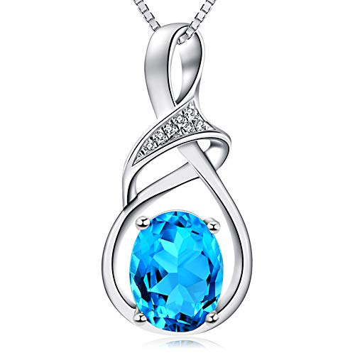 HXZZ Fine Jewelry Gifts for Women Sterling Silver Natural Gemstone Swiss Blue Topaz Pendant Necklace