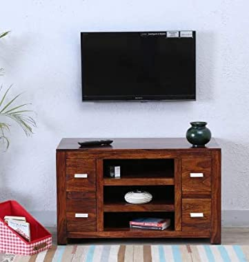 Shilpi Handmade Standard Size Solid Wood Four Drawer TV Unit in Honey Finishing