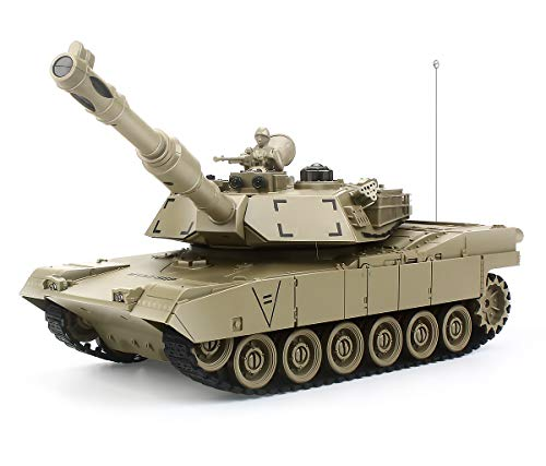 Rc Tanks, 1:28 M1A2 American Tank Army Tank Toys for Boys,9 Chanels Romote Control Vehicles with Sound and Light,Military Toys for Kids Boys Girls (Khaki)
