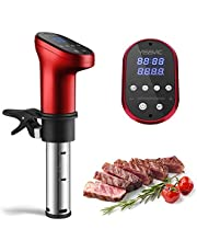YISSVIC Sous Vide Stick 1200W Sous -Vide Garer 5-95°C Digitale timer LED-touch display voor gezonde voeding, rood