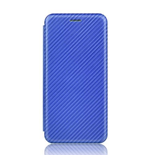 NEINEI Hülle für Xiaomi Poco M3 Pro 4G/5G Handyhülle,Premium Kohlefaser LederHülle Wallet mit Kartenfach und Magnetisch und Standfunktion,PC/TPU Flip Stoßfest Schutzhülle Cover Hülle,Blau