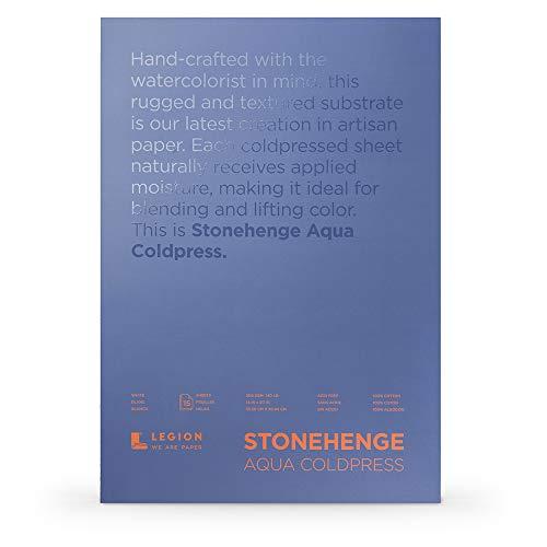 Legion Stonehenge Aqua Watercolor Block (L21-SQC140WH1420), 140 Cold Press, 14 X 20 inches, 15 Sheets, White