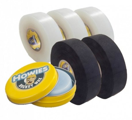2x Schlägertape Profi Cloth 24mm black, 3x Shine Tape, 1x Hockey Wachs