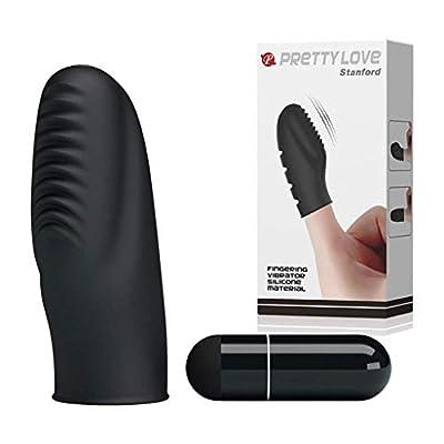 Black Silicone Finger Vibrant Toy for Couple Waterproof Stimulation Wonderful Finger Massager