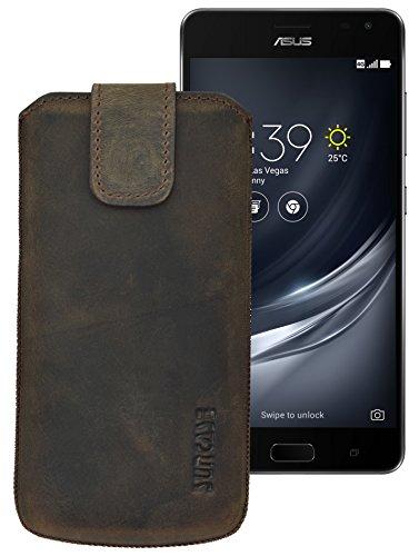 Suncase ECHT Ledertasche Leder Etui für Asus ZenFone AR Tasche (mit Rückzugsfunktion) in antik-dunkel-braun