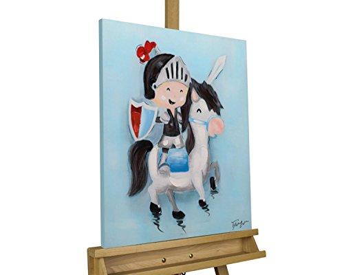 Kunstloft® Cuadro acrílico 'Mini Knight' 50x60cm | Original Pintura XXL Pintado a Mano en Lienzo | Caballo, Caballero, niño, Azul | Mural acrílico de Arte Moderno en una Pieza con Marco