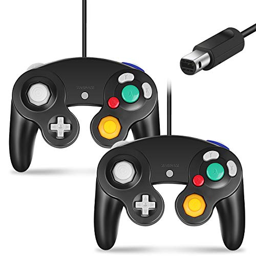 Cipon Controller Replacement for Gamecube Controller,Wired Controller Compatible with Nintendo Gamecube Controller for Wii PC 2 Pack Black