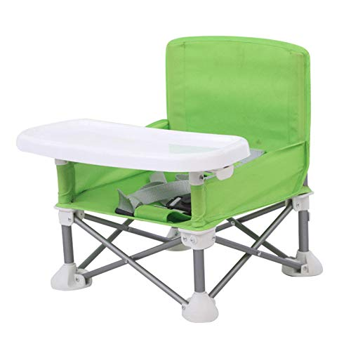 CALIDAKA Children Dining Chair Detachable Travel ting Beach with Tray Adjustable Strap Aluminum Alloy Camping Booster Seat ghchair Baby Portable Foldable Lawn(Green)