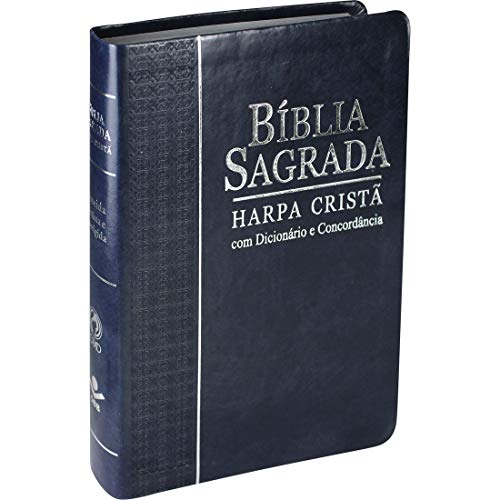 Bíblia Sagrada Letra Grande com Harpa Cristã - Couro sintético Azul: Almeida Revista e Corrigida (ARC) com Letras Vermelhas