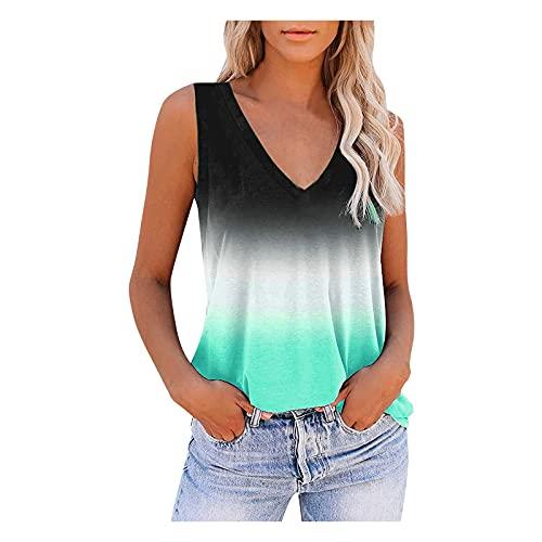 Camiseta de tirantes para mujer, de verano, elegante, cuello en V, sin mangas, holgada, informal, de gran tamaño, color degradado, blusa, túnica, tops, espaguetis, camiseta de tirantes