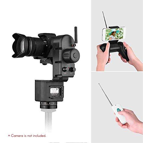 Simlugn Motorisiertes Pan Tilt Head-Fernbedienungsset, 40-50 m motorisiertes Panorama-Videostativ, einstellbare Geschwindigkeit für Sport-Action-Kamera, WLAN-Kamera und Smartphone