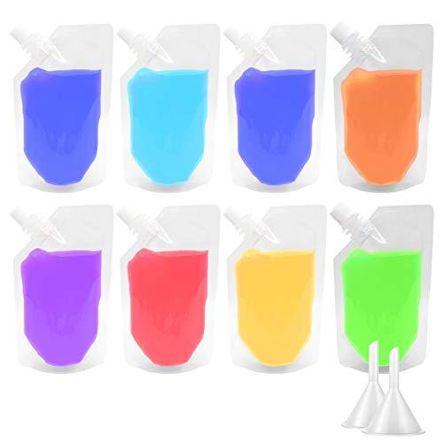 50 bolsas transparentes para bebidas, bolsas para licor, frascos para bebidas, bolsa de mano, bolsas de jugo, bolsas para vino, para bebidas frías y calientes, con embudos 250 ml