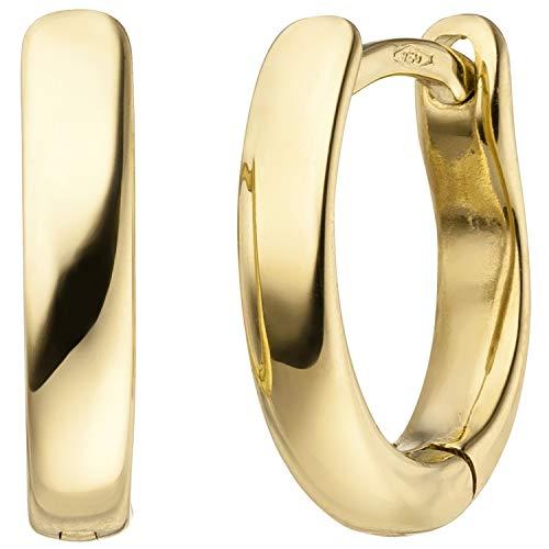 JOBO Damen Creolen oval 750 Gold Gelbgold Ohrringe Goldcreolen Goldohrringe