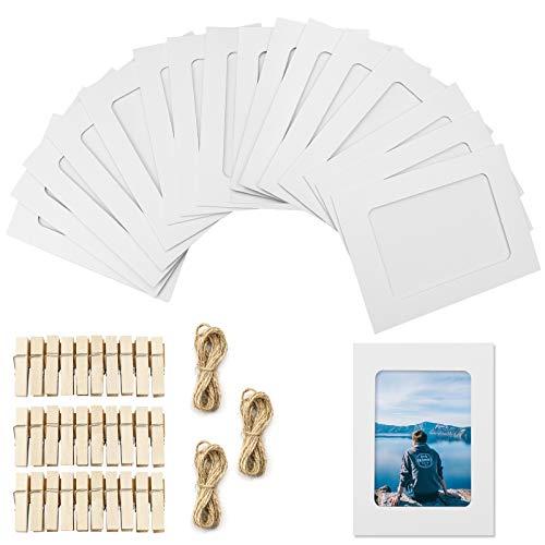 YunBey 30 Stücke Papier-Bilderrahmen Fotorahmen aus Papier Kreative Bilderrahmen Mit Schnur und Holzklemme Für Fotorahmen DIY Wanddekoration (Weiß)
