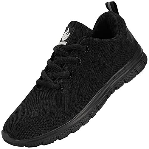 DYKHMILY Zapatillas de Seguridad Hombre Ligeras Transpirable Zapatos de Seguridad Trabajo Punta de Acero Calzado de Seguridad Deportivo (Negro Nieve,40 EU)