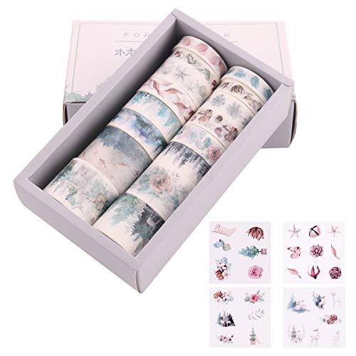 16 Rollen Washi Tape Set & 8 Blatt Sticker, Dekoratives Klebeband, Kollektion für Bastler, verschönert Journals, Planer, Karten und Scrapbooking (Set 1)