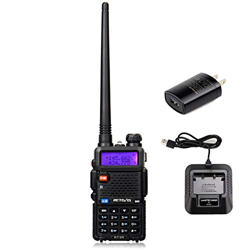 Retevis RT-5R Dual Band Two Way Radio 128CH VHF/UHF Emergency Police Ham Handheld Radios Walkie Talkies (1 Pack)
