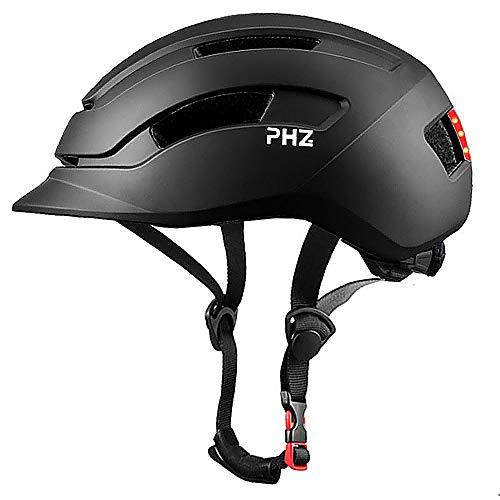 PHZ. Adult Bike Helmet with Rear Light for Urban Commuter Adjustable for Men/Women (Black, Medium)