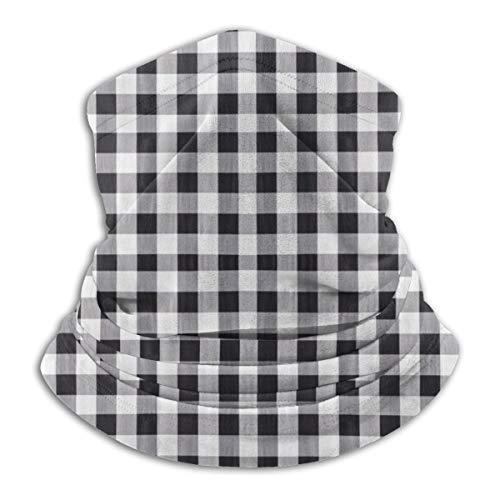 Calentador de Cuello de Microfibra Unisex Tono Negro Textura de Patrón de Tartán Pasamontañas Sombreros Bufanda para Polvo Viento Protección Solar