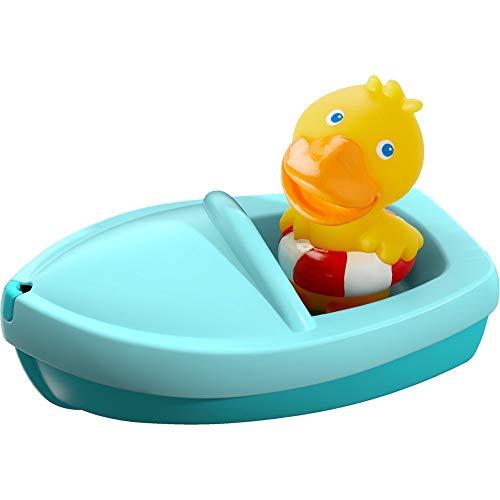 HABA 303863 - Badeboot Ente ahoi!, Badewannenspielzeug mit Badeente als Fingerpuppe, Badespielzeug ab 18 Monaten