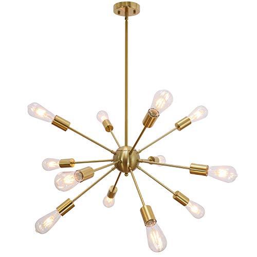 VINLUZ Lámpara de Techo Atomos Colgante Moderna Lamparas Lluminación Colgante Retro Vintage BRASS Lampara Techo Comedor de 12 Bombillas no Incluidas