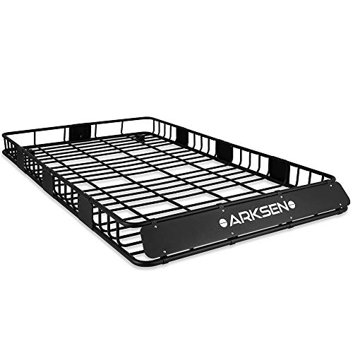 ARKSEN 84' x 50' x 6' Perfect-Wide Roof Rack Cargo Basket - 150 lb. Capacity Full-Size SUV Heavy Duty Roof Top Luggage Carrier, Black